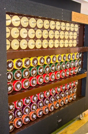 A working rebuilt Bombe at Bletchley Park, containing 36 Enigma equivalents. The (larger) Bombe in The Imitation Game was a high point – a beautiful piece of historical reconstruction.